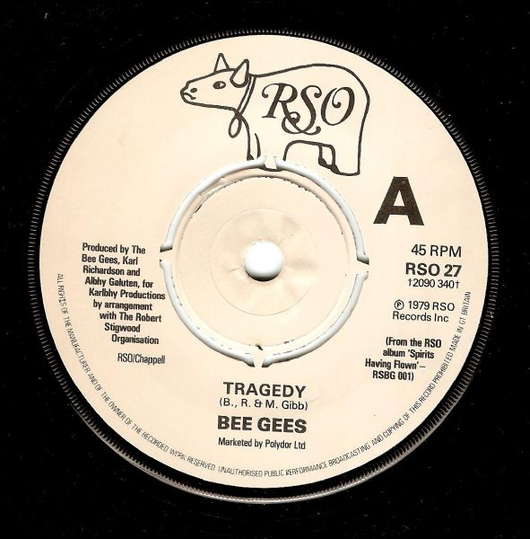 BEE GEES Tragedy Vinyl Record 7 Inch RSO 1979